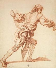 Jean-Baptiste Greuze |  Study of a Man with His Arm Swung Back, b.1761 | Giclée Paper Print