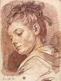 Jean-Baptiste Greuze | Head of a Young Woman, b.1769 | Giclée Paper Print