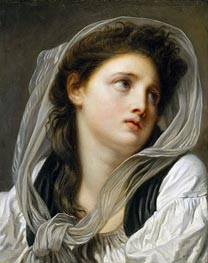 Jean-Baptiste Greuze | Head of a Young Woman (Contemplation) | Giclée Canvas Print