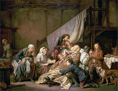 The Paralytic (Filial Piety), 1763   Jean-Baptiste Greuze   Painting Reproduction