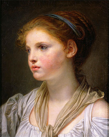 Jean-Baptiste Greuze | Girl with a Blue Ribbon, undated | Giclée Canvas Print