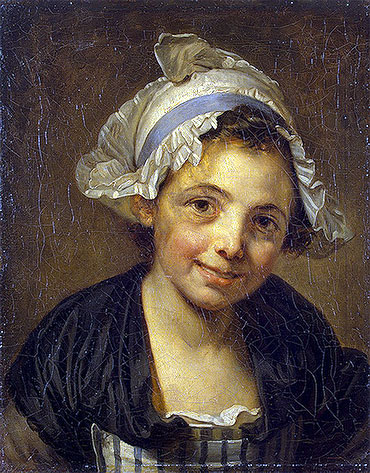 Head of a Young Girl in a Bonnet, c.1760/68 | Jean-Baptiste Greuze | Giclée Canvas Print