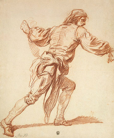Study of a Man with His Arm Swung Back, b.1761   Jean-Baptiste Greuze   Painting Reproduction