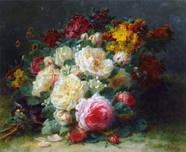 Jean-Baptiste Robie | A Bouquet of Cabbage Roses | Giclée Canvas Print