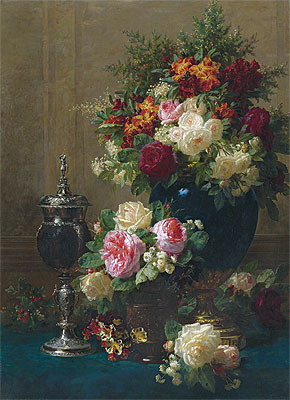 Still Life of Flowers with a Coconut Chalice on a Table, 1873 | Jean-Baptiste Robie | Giclée Canvas Print