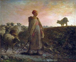 Millet | Shepherdess Returning with her Flock, Undated | Giclée Canvas Print