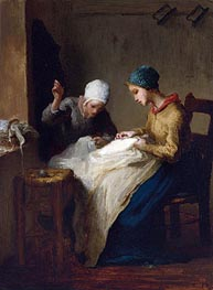 Millet | The Young Seamstresses, 1850 | Giclée Canvas Print