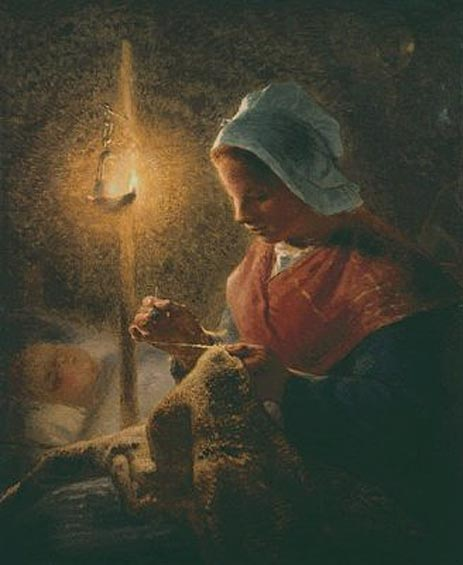 Woman Sewing by Lamplight, c.1870/72 | Millet | Giclée Canvas Print