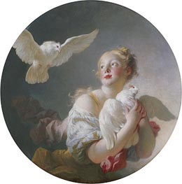 Fragonard | Girl Holding a Dove, undated | Giclée Canvas Print