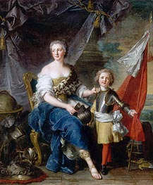 Jean-Marc Nattier | Mademoiselle de Lambesc as Minerva, Arming Her Brother the Comte de Brionne and Directing Him to the Arts of War | Giclée Canvas Print