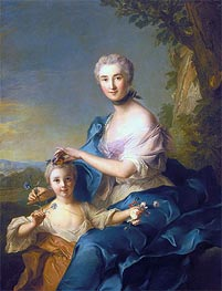 Jean-Marc Nattier | Madame Crozat de Thiers and Her Daughter, 1733 | Giclée Canvas Print
