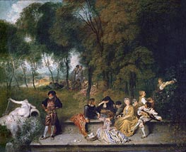 Watteau | Meeting in the Open Air | Giclée Canvas Print