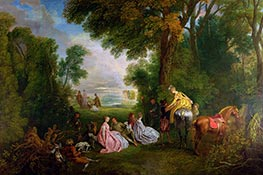 Watteau | The Halt during the Chase | Giclée Canvas Print