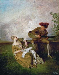 Watteau | The Singing Lesson (Guitarist and Young Lady with a Music Book) | Giclée Canvas Print