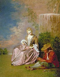 Watteau | The Shy Lover, 1718 | Giclée Canvas Print