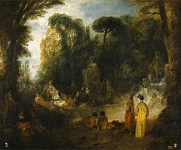 Watteau | Gathering in a Park, c.1712/13 | Giclée Canvas Print