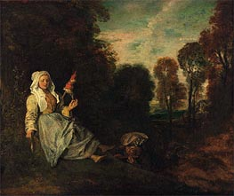 Watteau | Evening Landscape with Spinner, c.1713/17 | Giclée Canvas Print