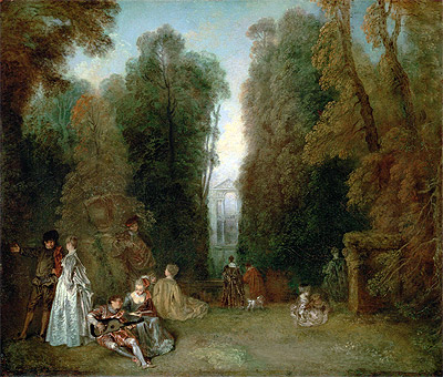 View through the Trees in the Park Pierre Crozat, c.1715 | Watteau | Painting Reproduction