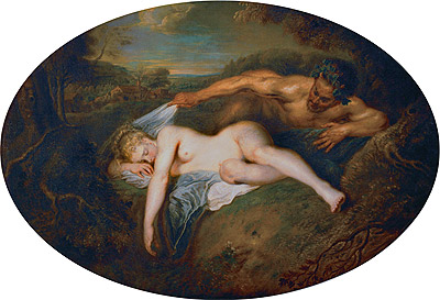 Nymph and Satyr, c.1715/16 | Watteau | Giclée Canvas Print