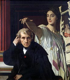 Ingres | Portrait of the Composer Cherubini and the Muse of Lyrical Poetry | Giclée Canvas Print