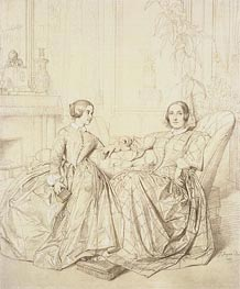 Ingres | Comtesse Charles d'Agoult, nee Marie de Flavigny and Her Daughter Claire d'Agoult | Giclée Canvas Print