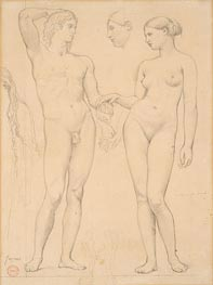 Ingres | Studies of a Man and a Woman for 'The Golden Age' | Giclée Paper Print