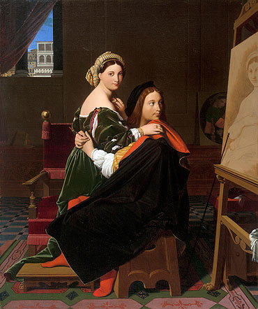 Raphael and the Fornarina, 1814 | Ingres | Giclée Canvas Print