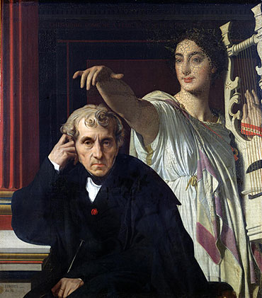 Portrait of the Composer Cherubini and the Muse of Lyrical Poetry, 1842 | Ingres | Painting Reproduction