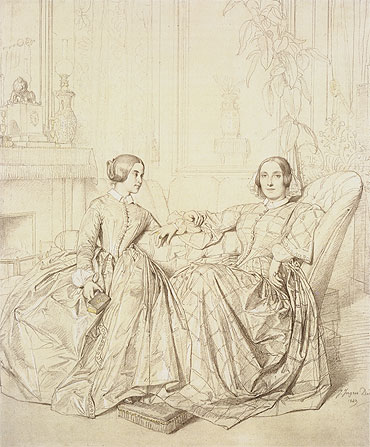 Comtesse Charles d'Agoult, nee Marie de Flavigny and Her Daughter Claire d'Agoult, 1849 | Ingres | Giclée Paper Print