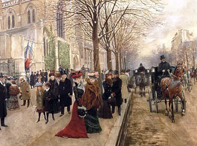 After the Service at the Church of Holy Trinity, Christmas 1890, 1890 | Jean Beraud | Giclée Canvas Print