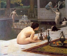 Gerome | The Teaser of the Narghile (The Pipelighter), c.1898 by | Giclée Canvas Print