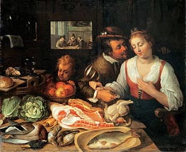 Jeremias van Winghe | Kitchen Scene, 1613 | Giclée Canvas Print