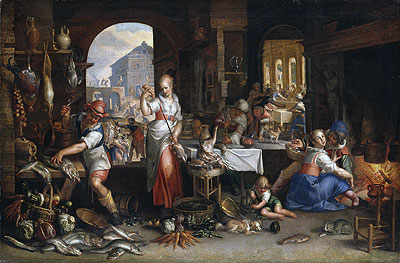 Kitchen Scene with the Parable of the Feast, 1605 | Joachim Wtewael | Giclée Canvas Print