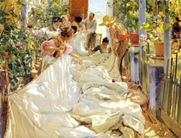Sorolla y Bastida | Mending the Sail | Giclée Canvas Print