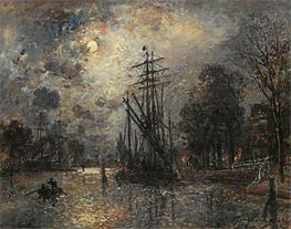 Jongkind | Sailing Boat in Moonshine, Holland, 1868 | Giclée Canvas Print