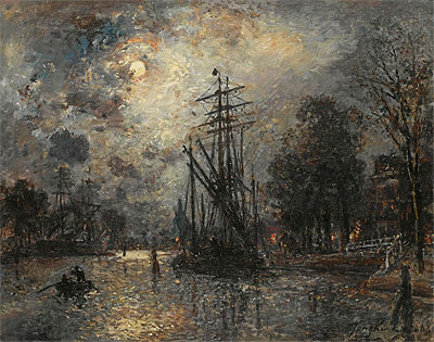 Sailing Boat in Moonshine, Holland, 1868 | Jongkind | Painting Reproduction