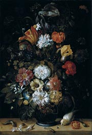 Johann Adalbert Angermeyer | Bouquet of Flowers with Animals, 1704 | Giclée Canvas Print