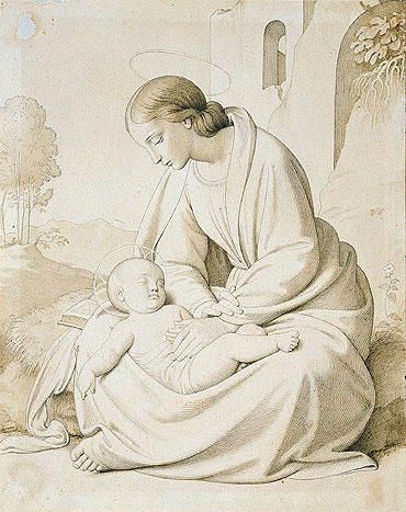 The Madonna and Child in a Landscape, undated | Overbeck | Giclée Paper Print