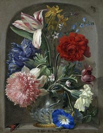 Johann Rudolf Byss | Flowers in a Vase in a Stone Niche, 1693 | Giclée Canvas Print