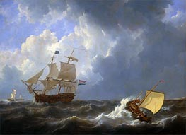 Johannes Schotel | Ships on a Rough Sea, 1826 | Giclée Canvas Print