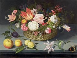 Johannes Bosschaert | Basket of Flowers, undated | Giclée Canvas Print