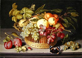 Johannes Bosschaert | Still Life with a Basket of Fruit, 1627 | Giclée Canvas Print