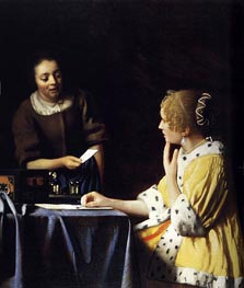 Vermeer | Mistress and Maid, c.1666/67 by | Giclée Canvas Print