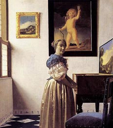 Vermeer | Young Woman Standing at a Virginal | Giclée Canvas Print