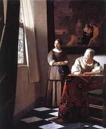 Vermeer | Lady Writing a Letter with Her Maid | Giclée Canvas Print
