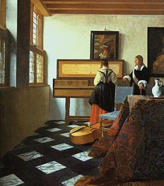 Vermeer | The Music Lesson | Giclée Canvas Print