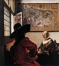 Vermeer | Officer with a Laughing Girl | Giclée Canvas Print