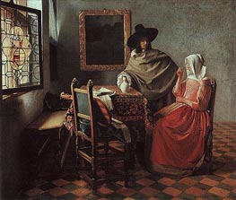 Vermeer | The Glass of Wine (Lady Drinking and a Gentleman) | Giclée Canvas Print