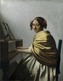 Vermeer | A Young Woman Seated at the Virginals | Giclée Canvas Print