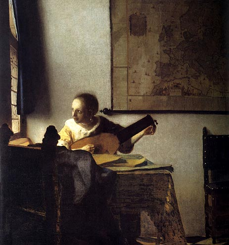 Woman with a Lute near a Window, c.1664 | Vermeer | Painting Reproduction